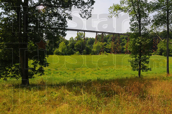 Tribune-Star/Jim Avelis<br /> First glimpse: When nearing the Tulip Trestle from the northeast, one's first view is trough the trees, seeing about two-thirds of the entire span. A small stretch of the trestle is seen here.