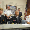 Tribune-Star/Jim Avelis<br /> Chief concern: Several Vigo County volunteer fire department chiefs held a short press conference Saturday morning to voice their concerns regarding the recent hot, dry weather.