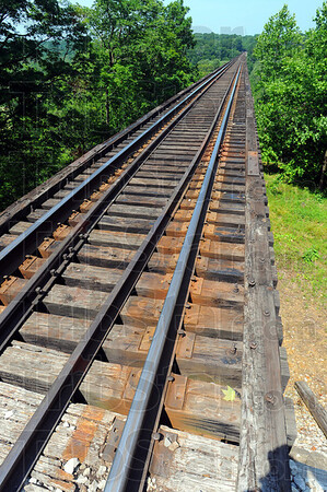 Tribune-Star/Jim Avelis<br /> Weighty matter: Over 2,800 tons of steel were used in creating the Tulip Trestle. It carries the railroad 157 feet over the Richland Creek valley floor and is  2,295 feet long.