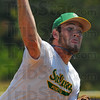 Tribune-Star/Jim Avelis<br /> Lots of help: Sullivan Post139 pitcher Tanner Butler had a lot of help in their American Legion elimination game with Washington Saturday afternoon.