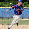 Eye-ball: Post 346 second baseman #6 Daniel Marlow watches the ball to his glove and throws out the batter on the play during Saturday's game against St. Leon Post 464.