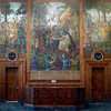 Tribune-Star/Joseph C. Garza<br /> Impressive imagery: A mural depicting the signing of the Magna Carta adorns a wall in the former federal courtroom in what is now Indiana State University's Federal Hall, home of the Scott College of Business.