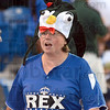 "7th inning stretch: A Rex fan sings ""Take Me Out To The Ball game"" during the seventh-inning-stretch Monday night at Bob Warn Field."