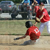Safe: Connorsville's #13 Noah Gibson slides safely into second base ahead of the incoming ball. Riley shortstop Trevor Trump covers the bag on the play.