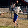 Tribune-Star/Joseph C. Garza<br /> Ball control: Terre Haute North's Austin Lewis keeps a Chris Barrett pass under control for a complete catch during the Patriots' first practice of the season Monday at North.