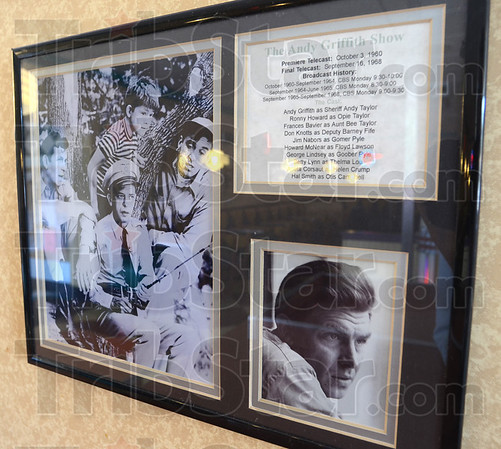 Tribune-Star/Jim Avelis<br /> Reminder: A plaque in the A&W restaurant in Clay City has photos and a brief history of the Andy Griffith Show.