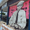 Tribune-Star/Jim Avelis<br /> You're safe now: A life-size cutout of Don Knotts as deputy Barney Fife greets visitors to the Mayberry Malt and Coffee Shoppe on the south side of Clay City.