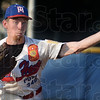 Tribune-Star/Jim Avelis<br /> On target: Post 346 pitcher Cody Girton delivers to a Mattoon batter in their American Legion game Tuesday evening. Girton struck out eleven batters, allowing only one unearned run.