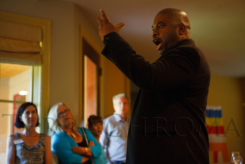 Terrance Carroll performs an Othello scene, after the character has slain Desdemona.  Historic Elitch Gardens Theatre fundraiser at the home of Jamie Van Leeuwen in Denver, Colorado, on Tuesday, July 10, 2012.<br /> Photo Steve Peterson