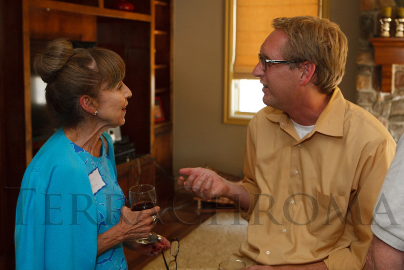 Patty Baca speaks with Jamie Van Leeuwen.  Historic Elitch Gardens Theatre fundraiser at the home of Jamie Van Leeuwen in Denver, Colorado, on Tuesday, July 10, 2012.<br /> Photo Steve Peterson
