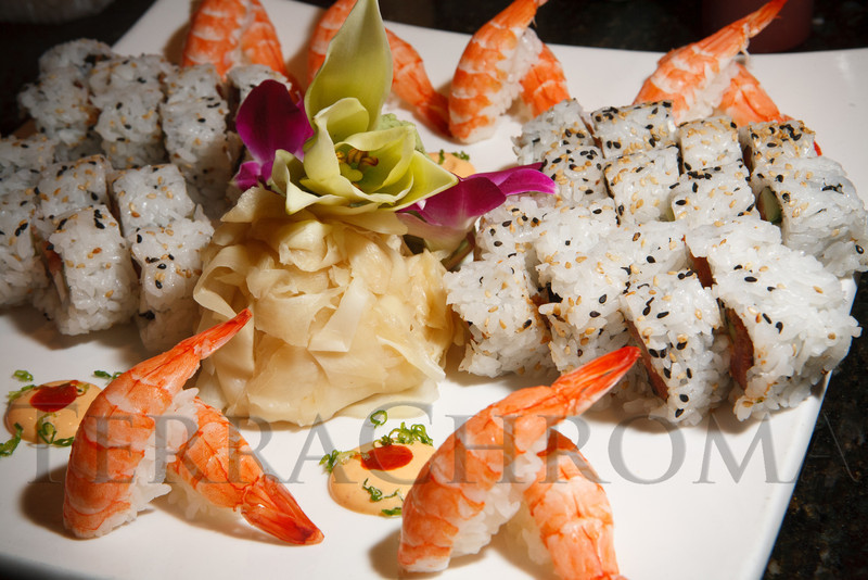 Hors d'oeurves provided by Sushi Hai.  Historic Elitch Gardens Theatre fundraiser at the home of Jamie Van Leeuwen in Denver, Colorado, on Tuesday, July 10, 2012.<br /> Photo Steve Peterson