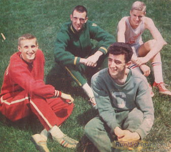 Original May,1962 photo taken by the Detroit Free Press. Pictured (from left to right) are: Ted Nelson of Milford H.S., Eric Zemper of Howell H.S., Tony Mifsud of Cody H.S. and Dick Sharkey of Redford H.S.  This photo was taken on the football field of the Old Redford High School in Detroit.  (Photo courtesy: Detroit Free Press. This original photo was taken by Tony Spina)