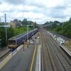 Biggleswade station, with platform extension works evident.