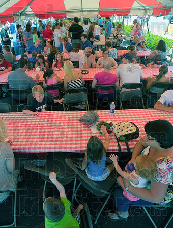 Tribune-Star/Jim Avelis<br /> Good turnout: Strawberry lovers turned out in droves for the annual First Congregational Church Strawberry Festival.