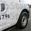 Tribune-Star/Jim Avelis<br /> Undercover: The decals identify this truck as an Indiana Department of Transportation vehicle. Indiana State Police trooper Jesse Schmidt talks with a motorist he stopped for excessive speed.