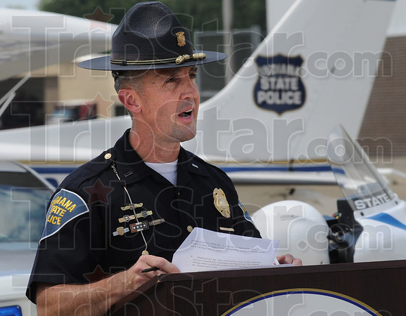Tribune-Star/Jim Avelis<br /> On patrol: Indiana State Police Lt. Dan Jones talks about the additional effort being made to keep rural roads in Indiana safe for motorists.
