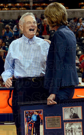 Father of Title IX: Former U.S. Senator Birch Bayh shares a laugh with Indiana Fever COO and GM Kelly Krauskopf during a pre-game ceremony to honor Bayh for his involvement in the historic Title IX legislation Thursday, June 21, in Indianapolis. (Photo by Joseph C. Garza/Tribune-Star)