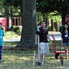Tribune-Star/Jim Avelis<br /> Operation catapult: Daniel Kline of Fanwood, N.J., operates the trebuchet he and teammates built for Operation Catapult at Rose-Hulman. On the left is Sean McPherson of Terre Haute North, to the right is teammate Tracy Zhao.