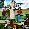 Children's: Detail photo of newly installed stained glass windows at the Central Presbyterian Church.