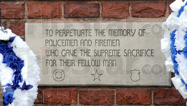 Police and fire: Plaque at the Police and Fire Museum honors Fallen Heroes.