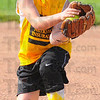 Tribune-Star/Jim Avelis<br /> Grounded: Keely Davis snares a groundball in a game at the Riley ball diamonds last month.