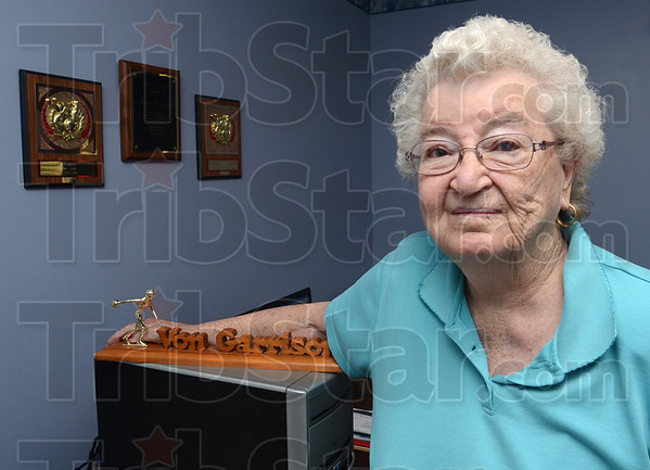 Tribune-Star/Jim Avelis<br /> Remembered: Levon Garrison with some of the individual awards she garnered over the years.