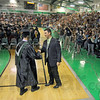Congrats: West Vigo Principal Thomas Balitewicz shakes hands and congratulates each graduating senior during 2012 Commencement exercises.