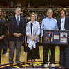 Tribune-Star/Joseph C. Garza<br /> Celebrating progress: Former U.S. Senator Birch Bayh, second from right, was honored during an Indiana Fever pre-game ceremony for his contribution to the historic Title IX legislation Thursday, June 21 in Indianapolis.
