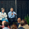 Tribune-Star/Joseph C. Garza<br /> How it came to be: Former U.S. Senator Birch Bayh, center, of Indiana discusses how he came to co-author the historic Title IX legislation during a panel discussion Thursday, June 22 in Indianapolis. Also sitting on the panel with Bayh are Lyn St. James and Judge Sarah Evans Barker.