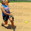 Tribune-Star/Jim Avelis<br /> Backup: South Putnam senior Kaylin Yon throws during practice Wednesday. The Eagles were preparing for today's state finals game with Adams Central.