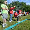 Tribune-Star/Jim Avelis<br /> Veteran: Eldon Watts waits for his teammates to take their turn at throwing in the bocce ball competition. The 82 year-old is the oldest Special Olympian at the games this year.