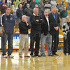 Honored: Several former student-players were on hand for the naming ceremony Saturday evening, when the floor of the Terre Haute North High School gym was named in honor of long time coach Jim Jones, right.