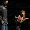 "Pinkie: Elizabeth Morales (R) portrays ""Pinkie"" during Monday's dress rehearsal of the play ""Happy Days"" with A.J. Contramaestre portraying ""Fonzie""."