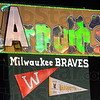 Arnold's sign: Detail photo of the Arnold's sign being used as a prop for the Vigo County School Corp. Performing Arts Workshop.
