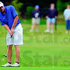 Tribune-Star/Joseph C. Garza<br /> Get in there: Linton's Clayton French putts towards the third hole of the Phil Harris Golf Course during the Miners' sectional win Monday in Linton.
