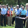 Tribune-Star/Jim Avelis<br /> Grateful: Mary McConnell, State Director for The Nature Conservancy in Indiana, addresses the gathering at Fairbanks Park Tuesday afternoon.