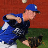 Tribune-Star/Jim Avelis<br /> Tough outing: Terre Haute Rex starting pitcher Kameron Stady of Gulfport MS was roughed up for four runs in less than five innings works against the Danville Dans Tuesday evening in Prospect league play.