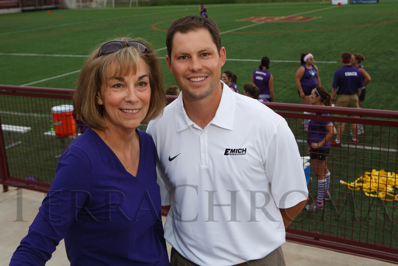 "Linda Mitchell and Fred Emich IV.  ""Blondes vs. Brunettes"" event, benefiting the Alzheimer's Association of Colorado, at University of Denver - Peter Barton Lacrosse Stadium in Denver, Colorado, on Saturday, June 2, 2012.<br /> Photo Steve Peterson"