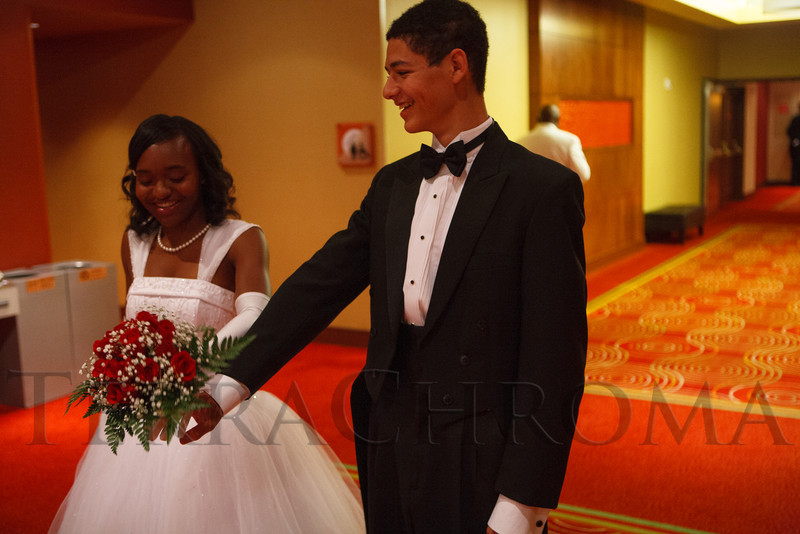 Journi Johnson and Miles Williams.  The 61st Annual Owl Club of Denver Debutante Cotillion at the Denver Marriott City Center near Denver, Colorado, on Saturday, June 2, 2012.<br /> Photo Steve Peterson