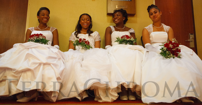 Akila Copeland, Paige Buchanan-Hall, Kelsey Biddix, and Jalaya Alexander.  The 61st Annual Owl Club of Denver Debutante Cotillion at the Denver Marriott City Center near Denver, Colorado, on Saturday, June 2, 2012.<br /> Photo Steve Peterson