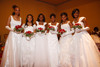 Tachelle Grant, Paige Buchanan-Hall, Journi Johnson, Jaliah Peters, Ashton Walker-Curl, and Kimberly Turner, all from East High School.  The 61st Annual Owl Club of Denver Debutante Cotillion at the Denver Marriott City Center near Denver, Colorado, on Saturday, June 2, 2012.<br /> Photo Steve Peterson
