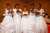Oriana Miller, Danya Granado, Jalaya Alexander, Isioma West, and Aijiana Zanders.  The 61st Annual Owl Club of Denver Debutante Cotillion at the Denver Marriott City Center near Denver, Colorado, on Saturday, June 2, 2012.<br /> Photo Steve Peterson