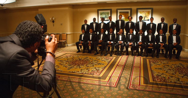 Escorts have their formal photo taken.  The 61st Annual Owl Club of Denver Debutante Cotillion at the Denver Marriott City Center near Denver, Colorado, on Saturday, June 2, 2012.<br /> Photo Steve Peterson