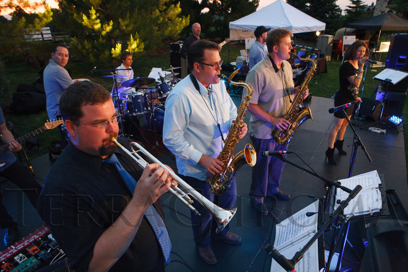 The Funk if I Know All-Stars entertain the crowd.  Janet's Camp, benefiting the YMCA of Metropolitan Denver, at the home of Steve and Nikki Lockton in Englewood, Colorado, on Saturday, June 23, 2012.<br /> Photo Steve Peterson