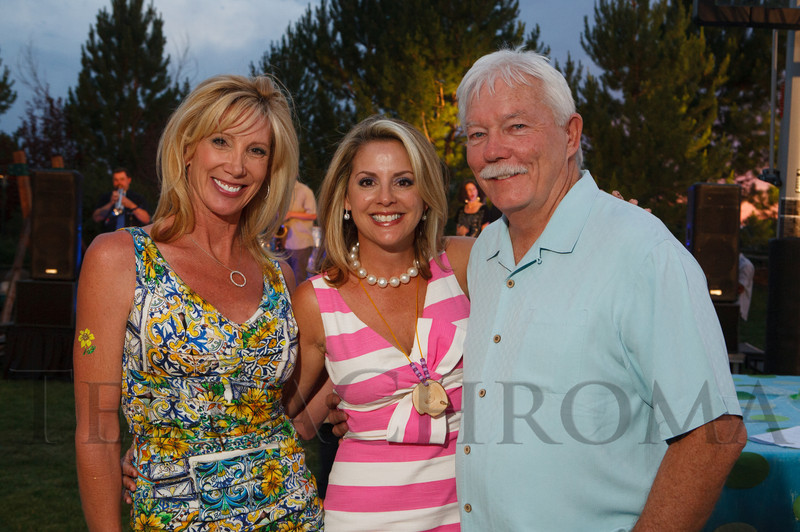 Janet Elway, Jane Buckley, and Gary Corbett.  Janet's Camp, benefiting the YMCA of Metropolitan Denver, at the home of Steve and Nikki Lockton in Englewood, Colorado, on Saturday, June 23, 2012.<br /> Photo Steve Peterson