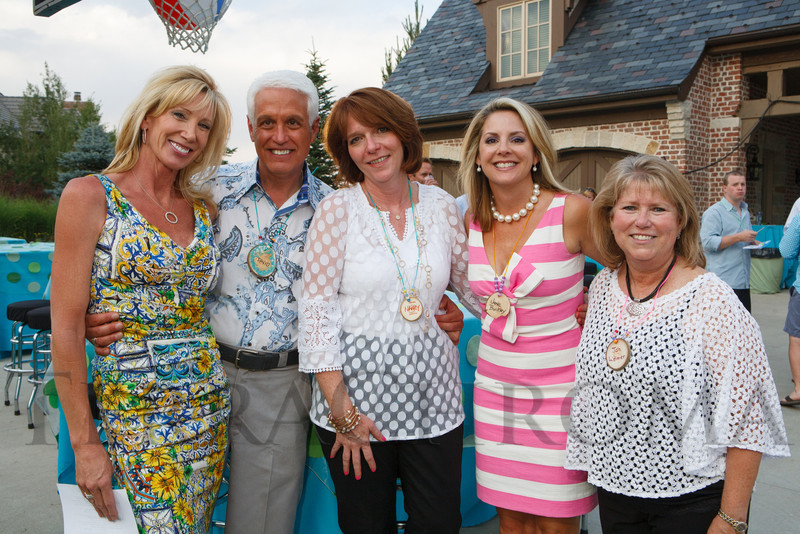 Janet Elway, David Alexander, Nancy Lamb Thompson, Jane Buckley, and Jan Weimer.  Janet's Camp, benefiting the YMCA of Metropolitan Denver, at the home of Steve and Nikki Lockton in Englewood, Colorado, on Saturday, June 23, 2012.<br /> Photo Steve Peterson