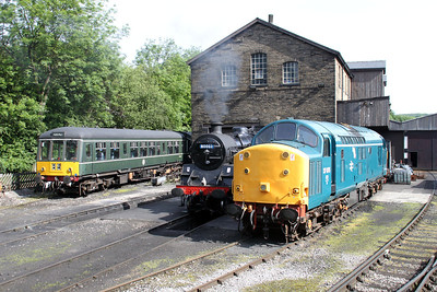 Steam 80002 and 37075 at Haworth Yard on the KWR.