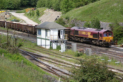 66154 shunting wagons in/out at Dove Holes Quarry passes Peak Forest signal box.