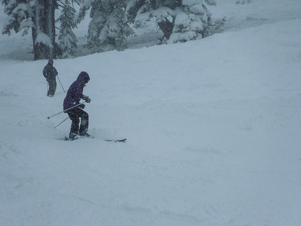 Bri trying to learn how to ski in powder