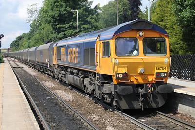 66704 1157/4N36 Tyne Dock-Drax passes Knottingley 19/06/12
